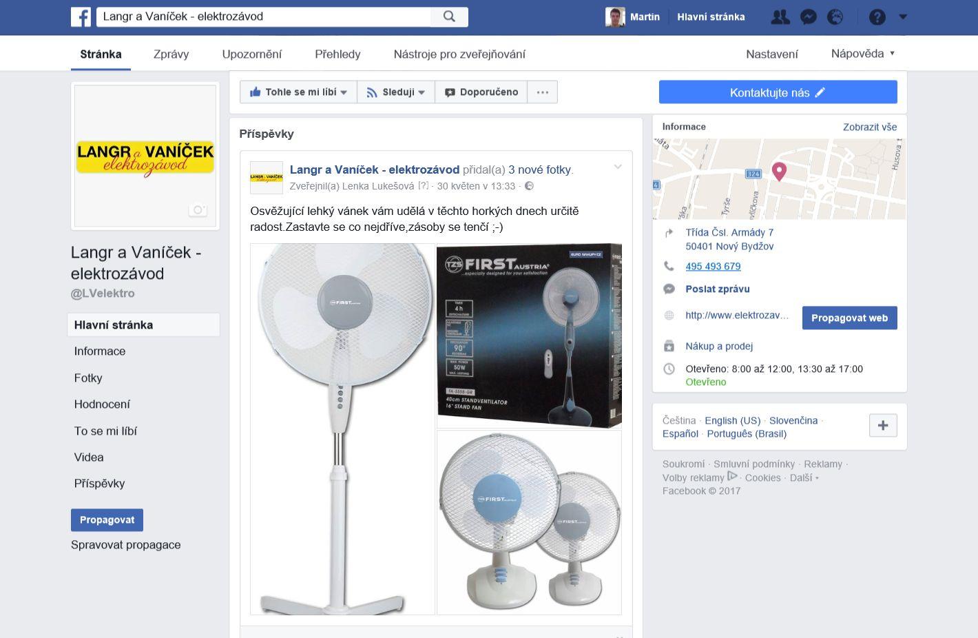 Langr a Vaníček Facebook